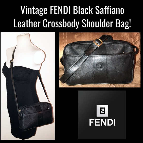 7a3523c5b3 Fendi Handbags - Vintage FENDI Black Leather Crossbody Shoulder Bag